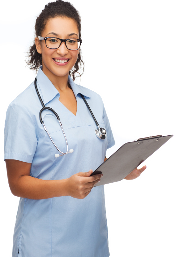 Healthcare professional with clipboard